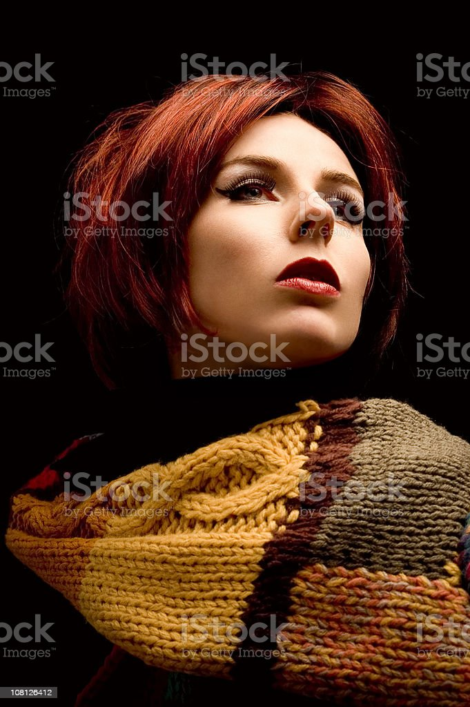 Woman In Scarf on Black Background royalty-free stock photo