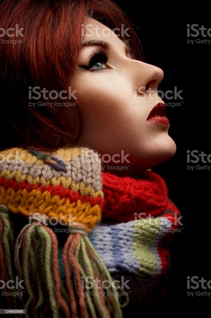 Woman In Scarf stock photo