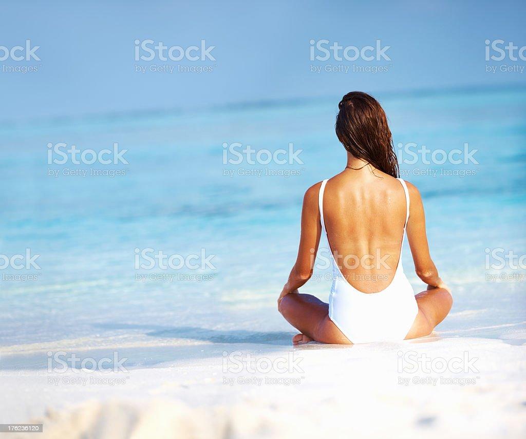 Woman in sexy swimwear stock photo