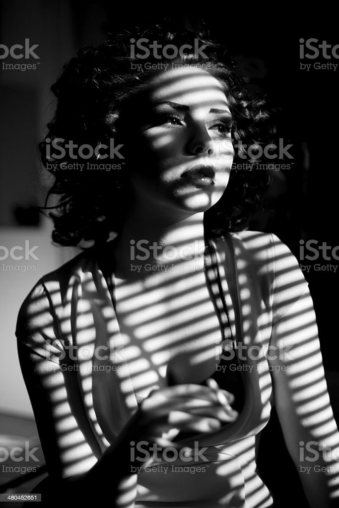 Woman in shadow of binds roller posing stock photo
