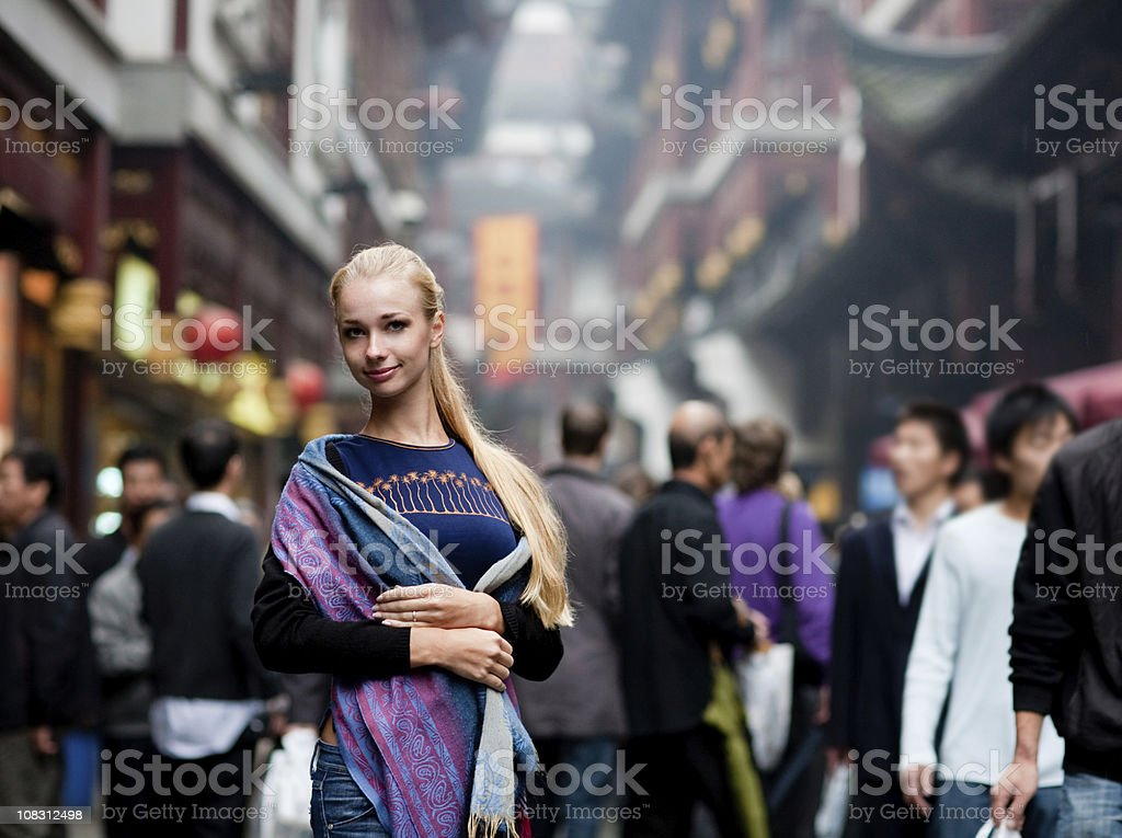 Woman in Shanghai royalty-free stock photo