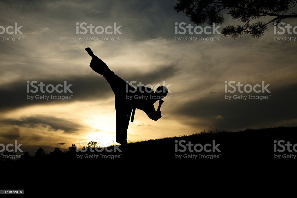 Woman in silhouette practicing martial arts, karate. Sunset. Outdoors. Sky. stock photo