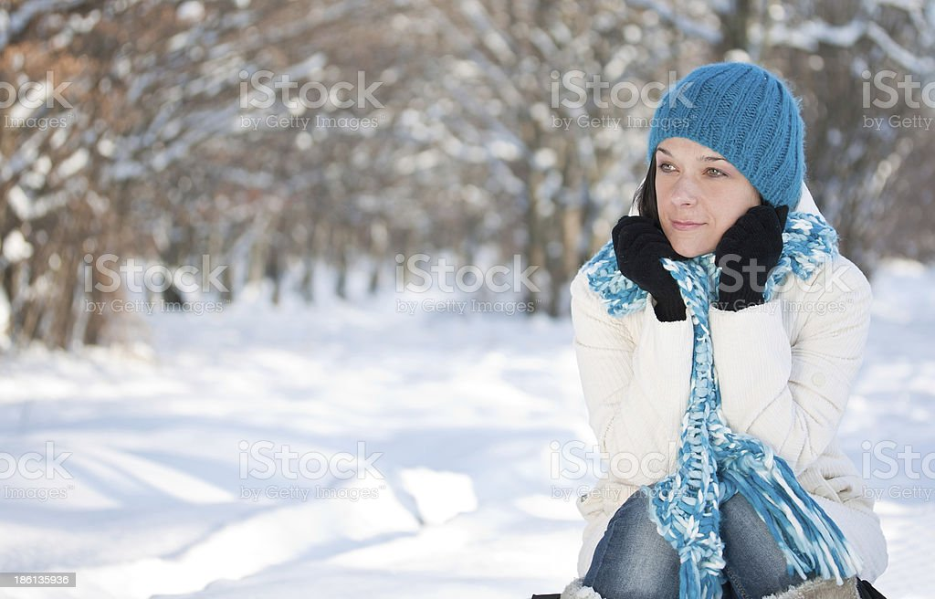 Woman in snow royalty-free stock photo