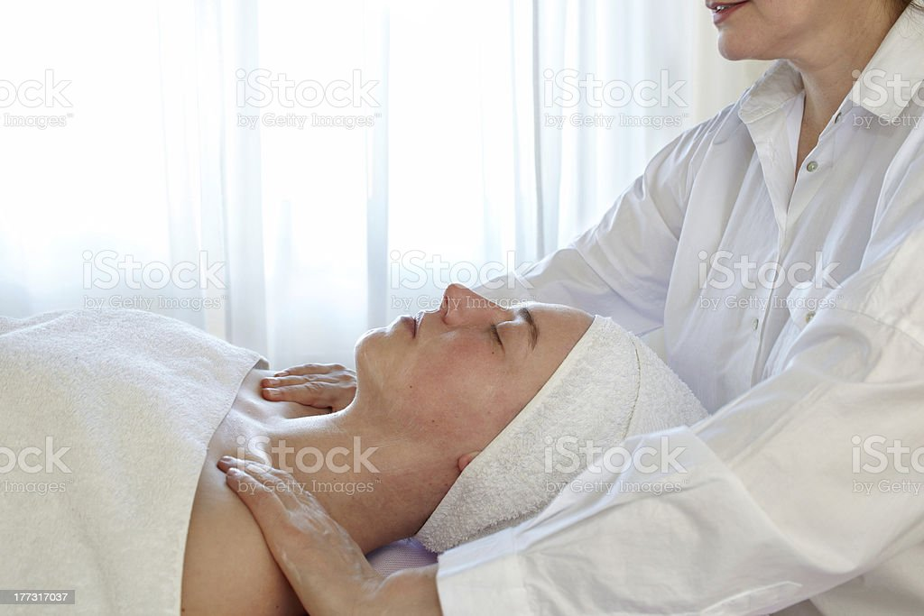 Woman In Spa With Therapsist stock photo