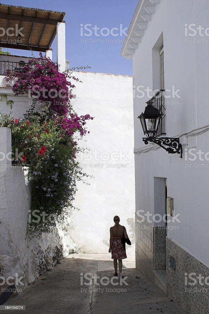 Woman in Spanish street royalty-free stock photo