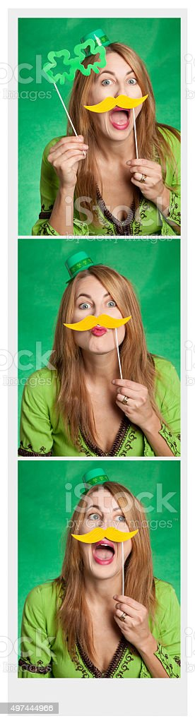 Woman In St. Patrick's Day Photo Booth stock photo