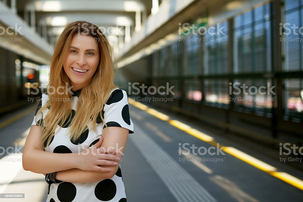woman in station stock photo