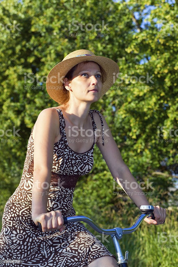 woman in straw hat. royalty-free stock photo