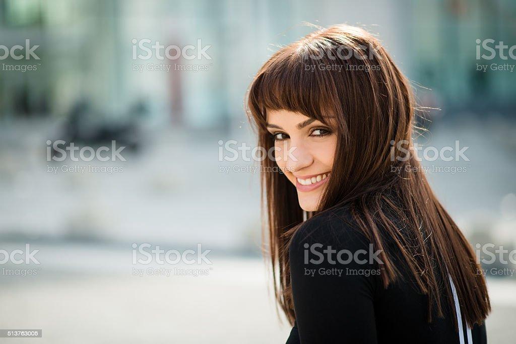 Woman in street portrait stock photo
