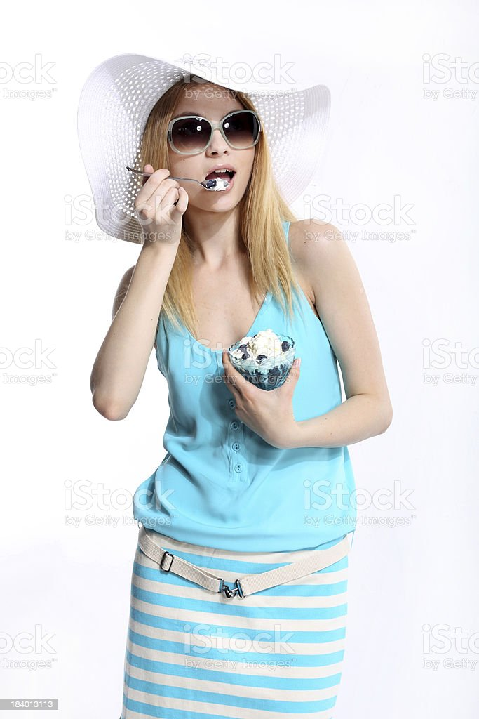 Woman In Sunhat Isolated royalty-free stock photo