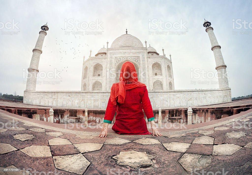 Woman in Taj Mahal stock photo