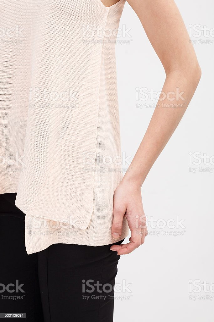 Woman in the beige blouse stock photo