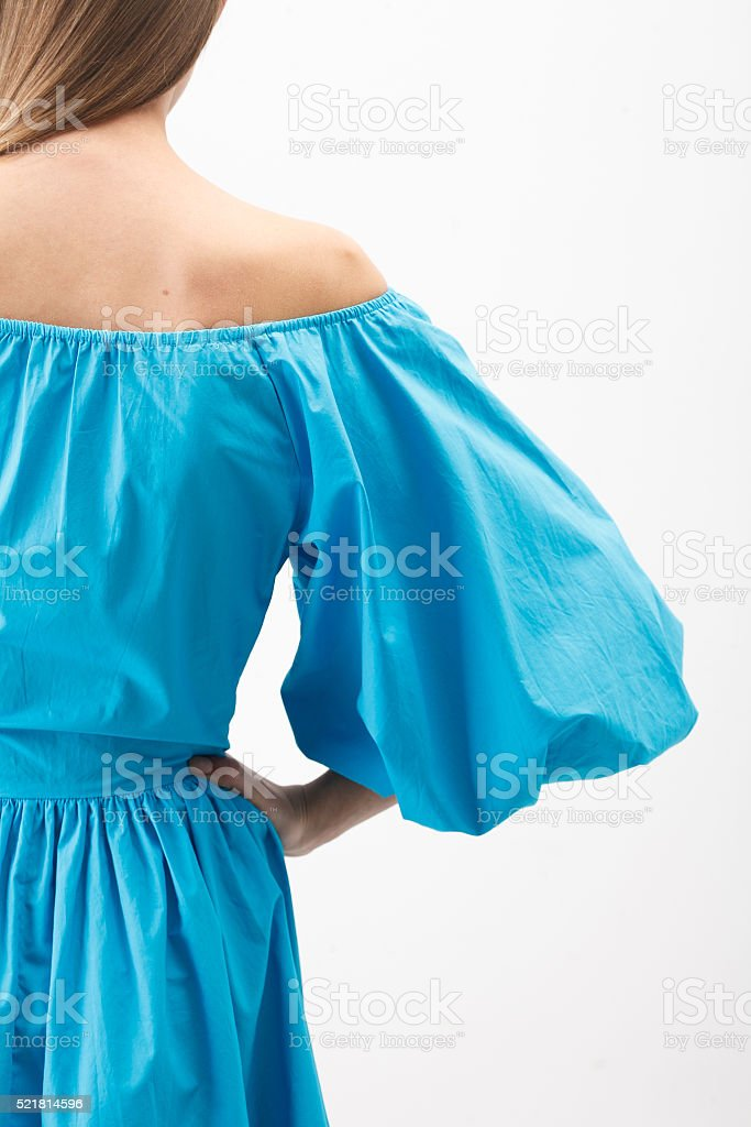 Woman in the blue dress stock photo