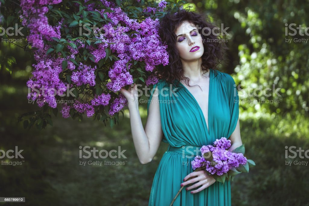 Woman in the bushes of lilac. stock photo