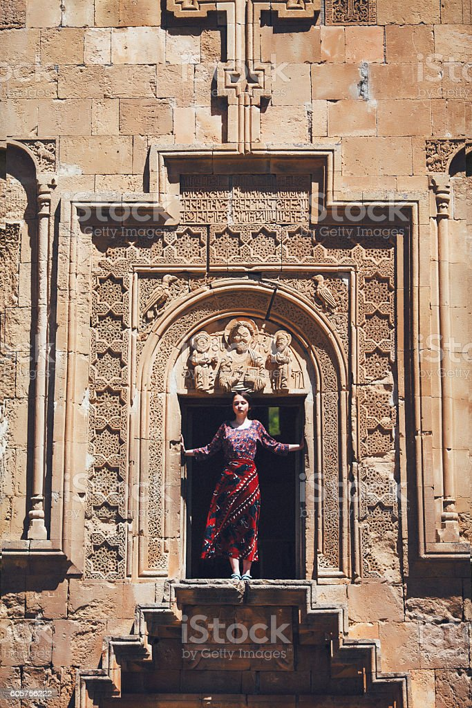 Woman in the church stock photo