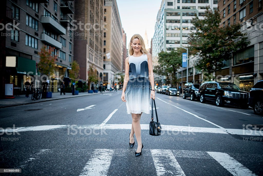 Woman in the city stock photo