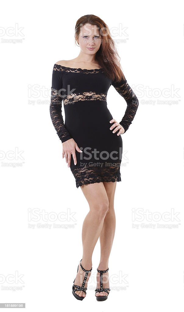 Woman in the cocktail dress stock photo