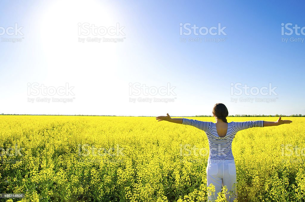 woman in the field royalty-free stock photo