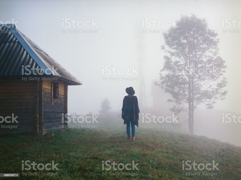 Woman in the field stock photo