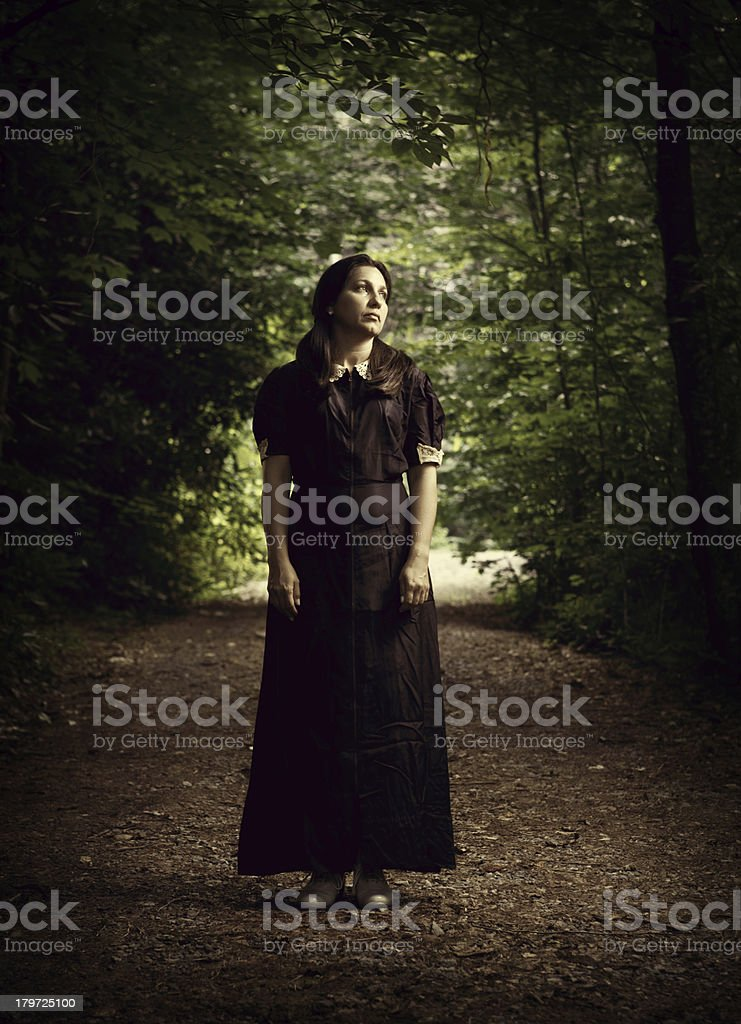 woman in the forest stock photo