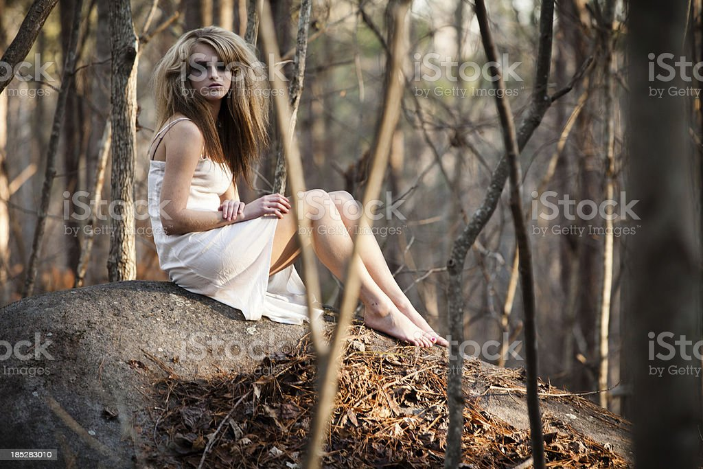 Woman in the forest. royalty-free stock photo