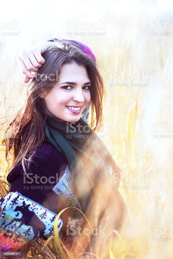 Woman in the grass royalty-free stock photo
