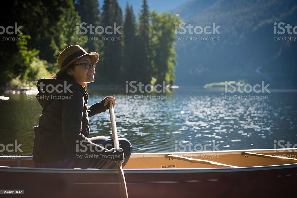 Woman in the great outdoors stock photo