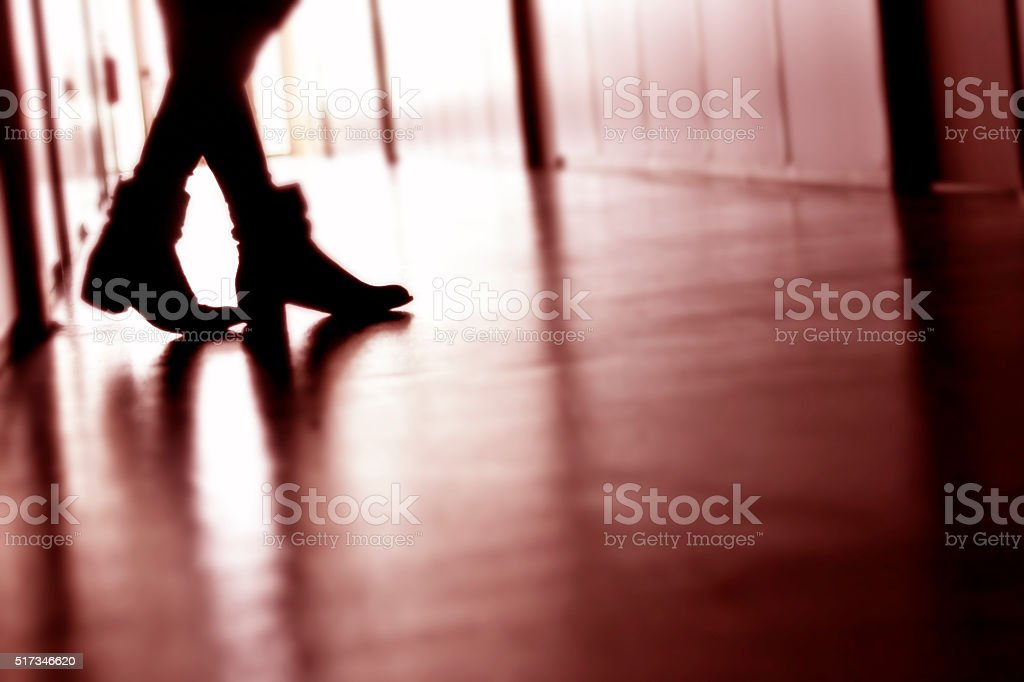 Woman in the hallway stock photo