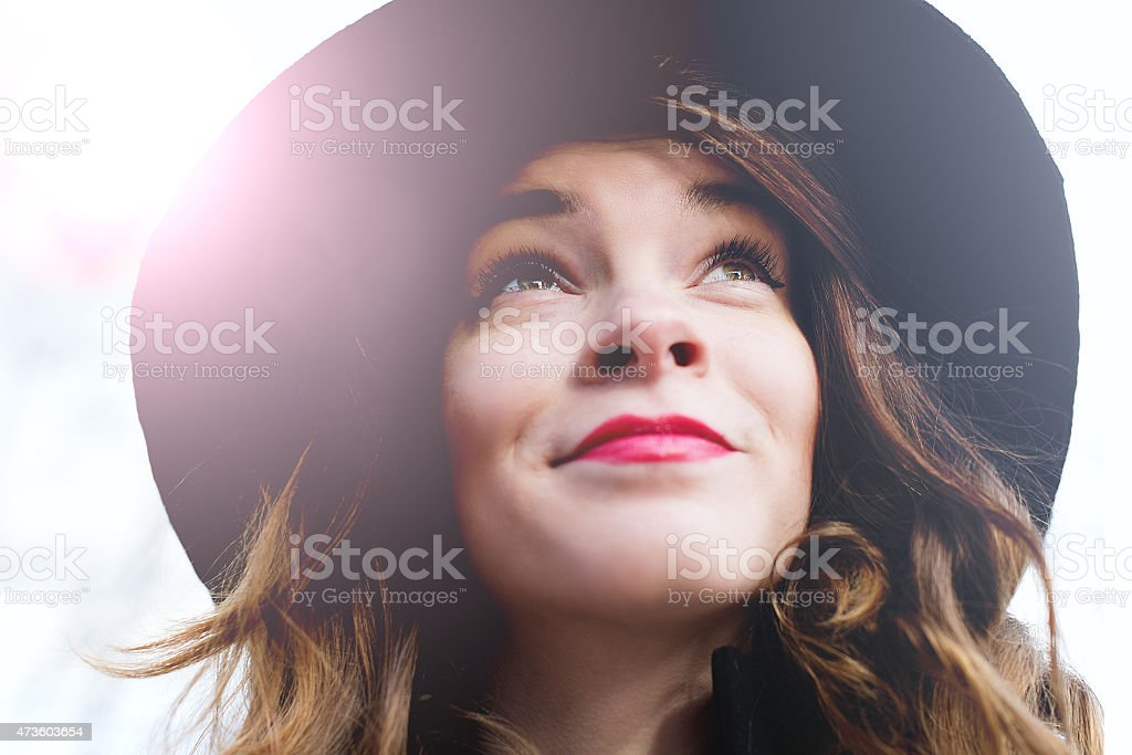 Woman in the hat royalty-free stock photo