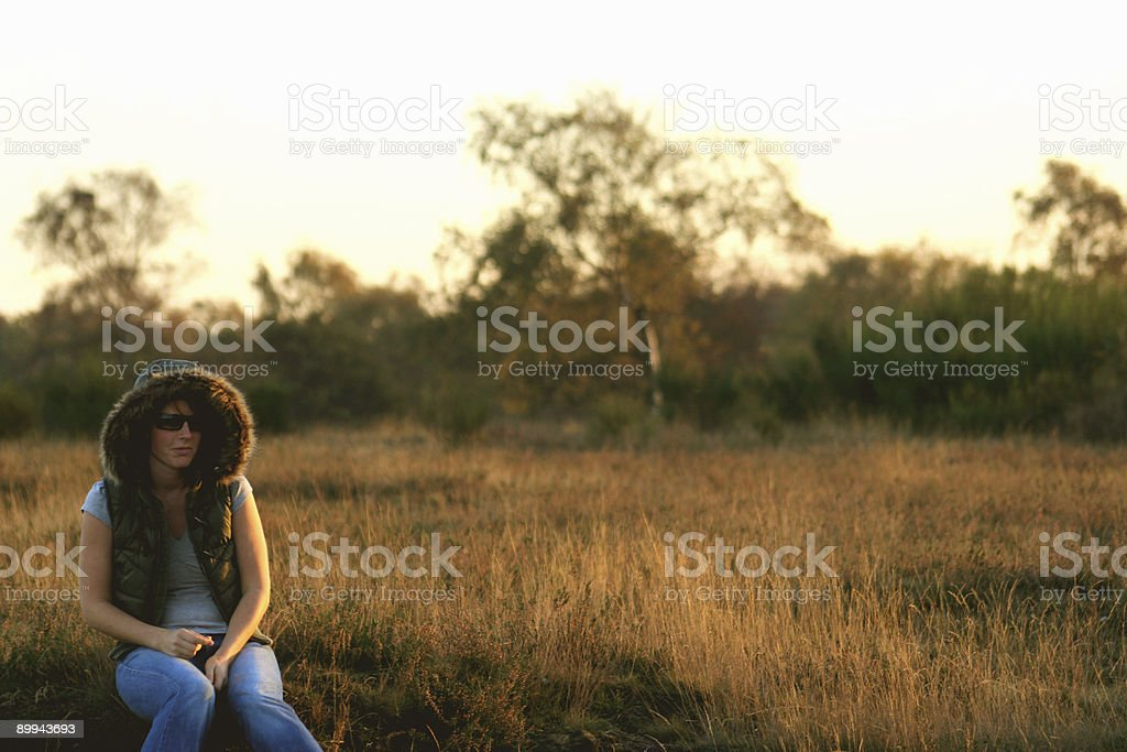 Woman in the late afternoon royalty-free stock photo