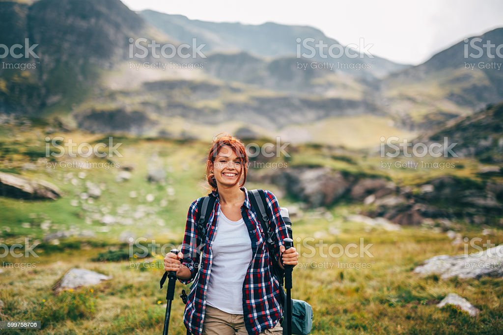 Woman in the mountain stock photo