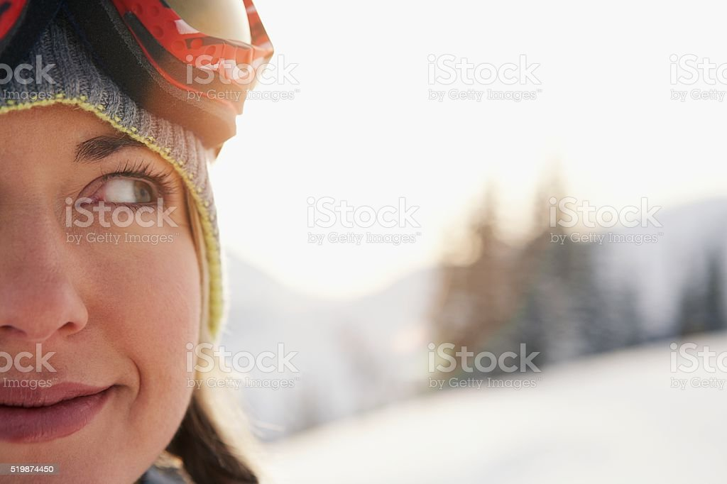 Woman in the mountains stock photo