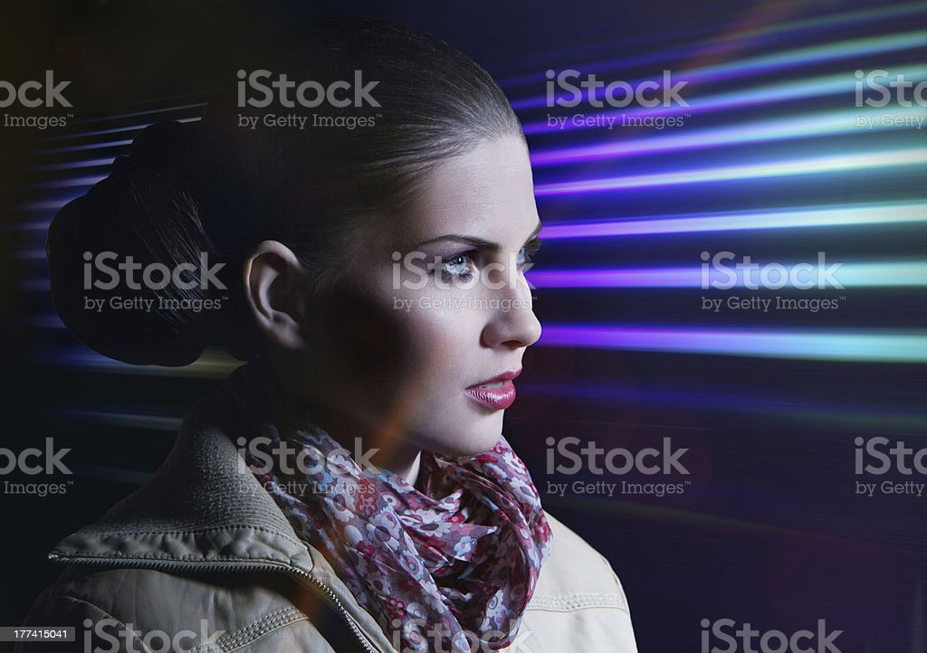 Woman in the night royalty-free stock photo