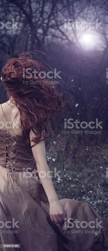 Woman in the night stock photo