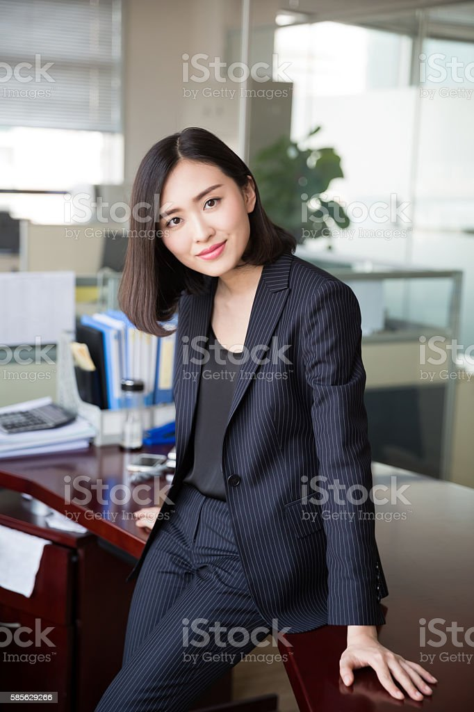 woman in the office stock photo