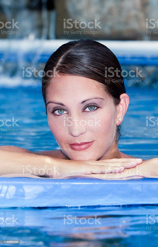Woman in the Pool stock photo