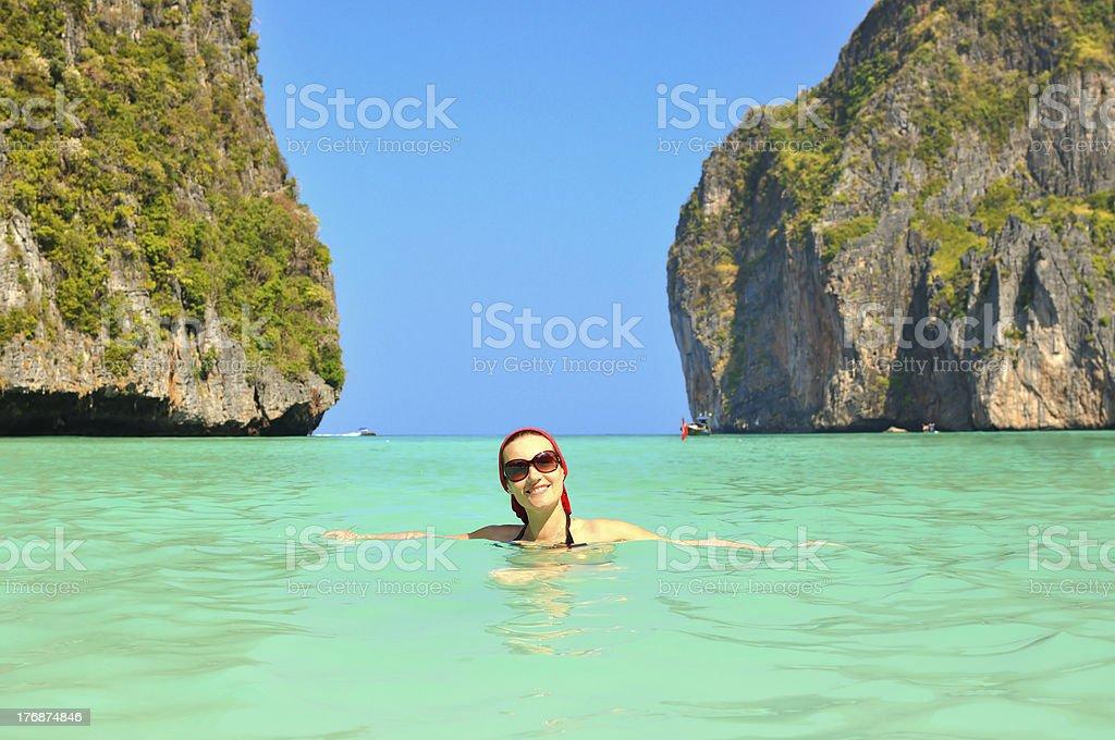 Woman in the sea on  Maya Bay. Thailand stock photo