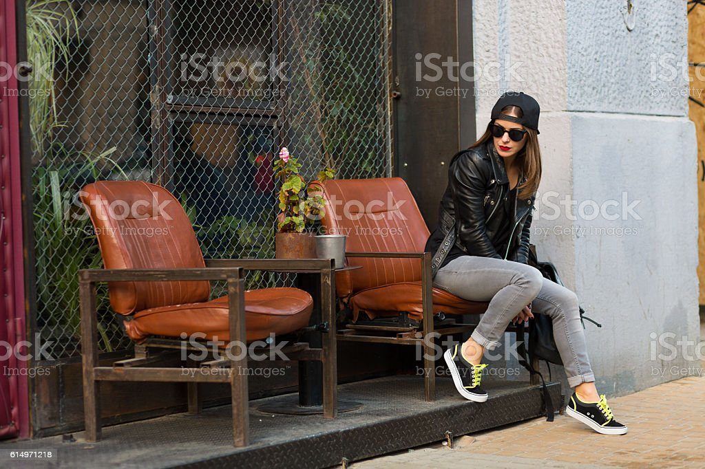 Woman in the street cafe stock photo