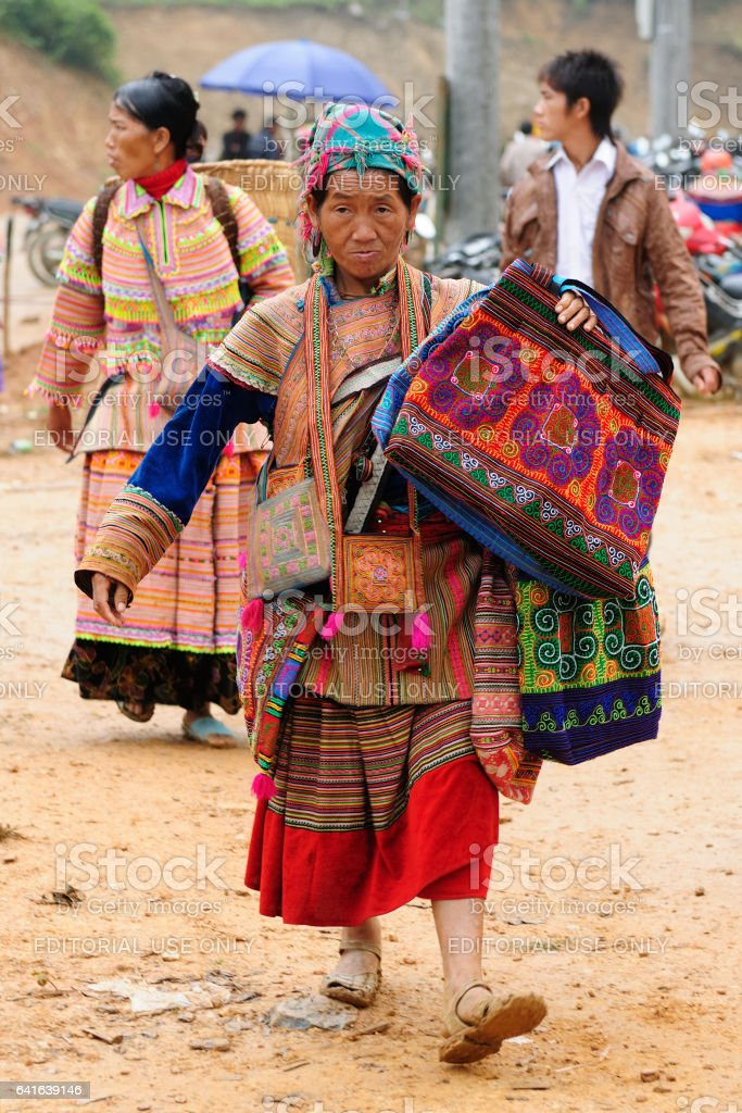 Woman in the traditional dress of Homong people stock photo