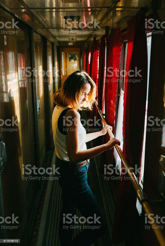 Woman in the train stock photo