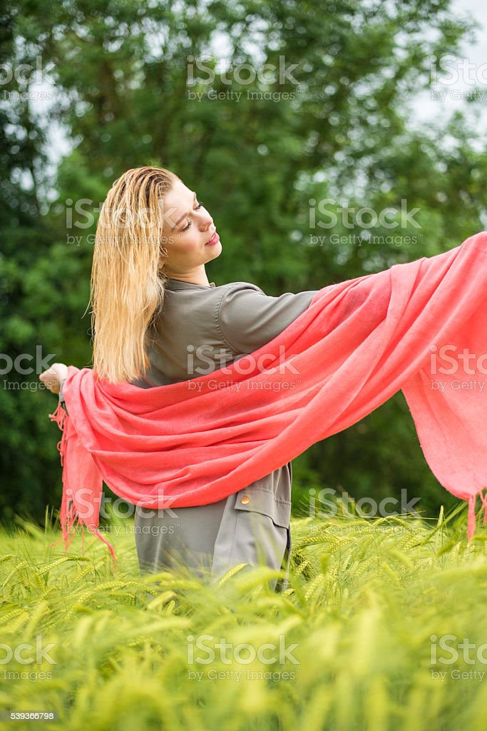 Woman in the wheat field holding red scarf stock photo