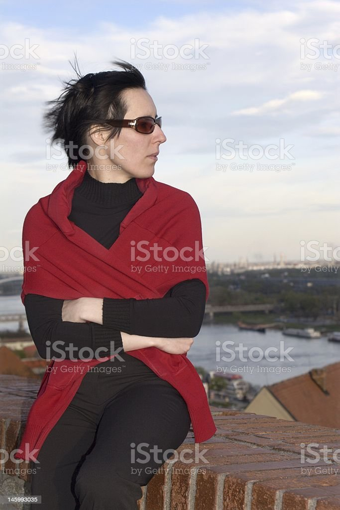 woman in the wind royalty-free stock photo