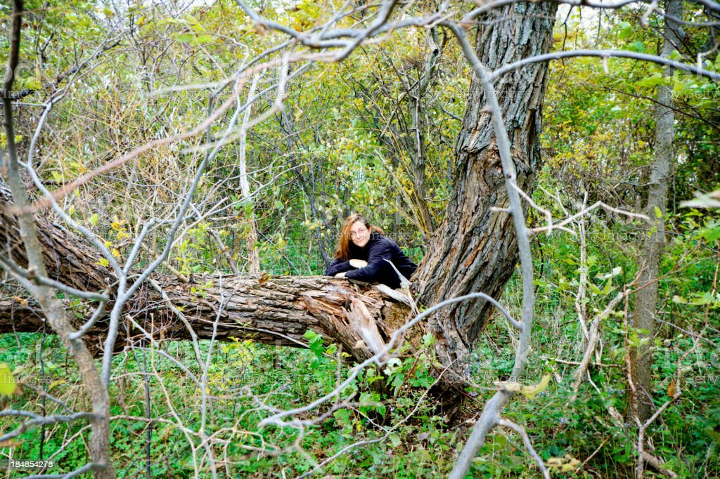 Woman in the woods, shot at Ontario, Canada royalty-free stock photo