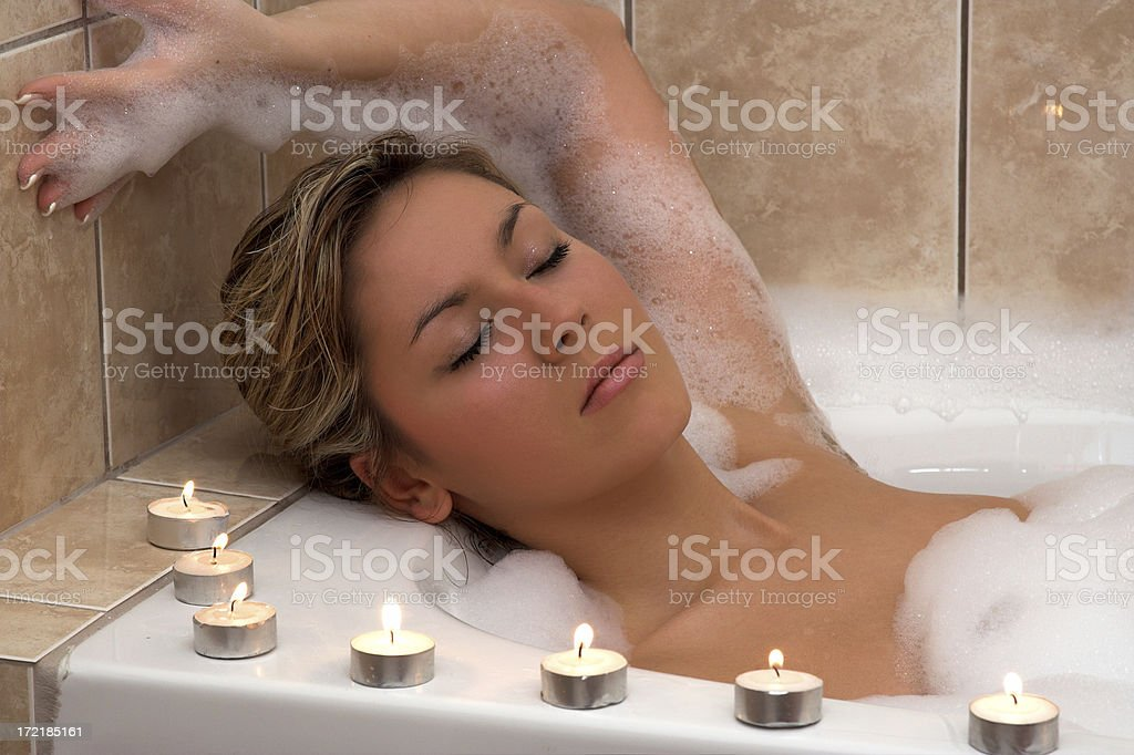 Woman in thermal bath royalty-free stock photo