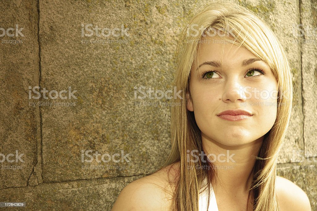 Woman in thought stock photo