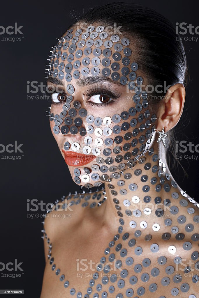 woman in thumbtack royalty-free stock photo