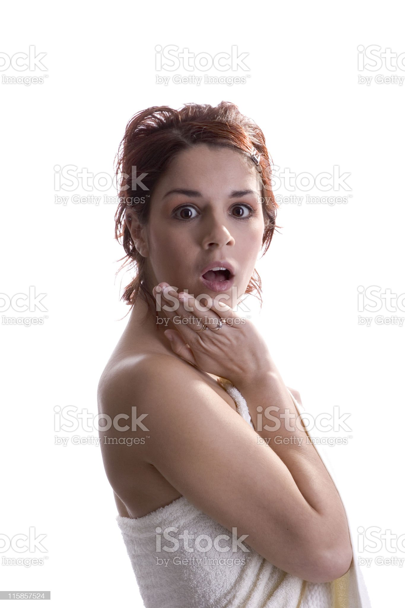 woman in towel, shocked royalty-free stock photo