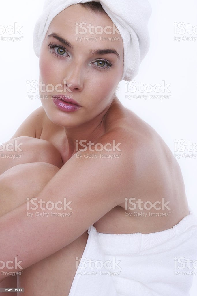 woman in towels royalty-free stock photo