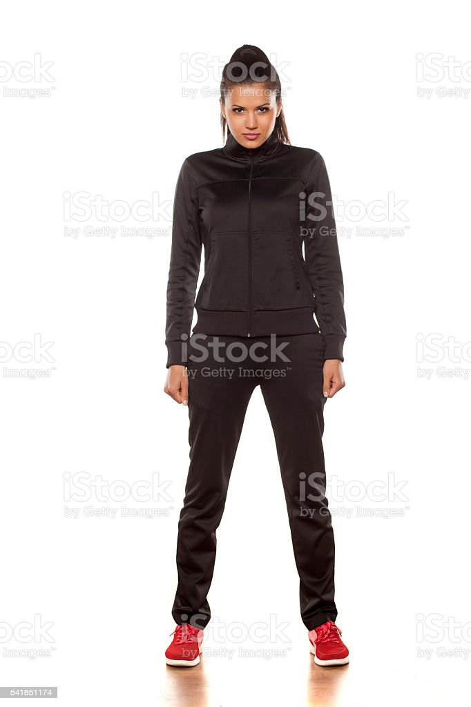 woman in tracksuits stock photo