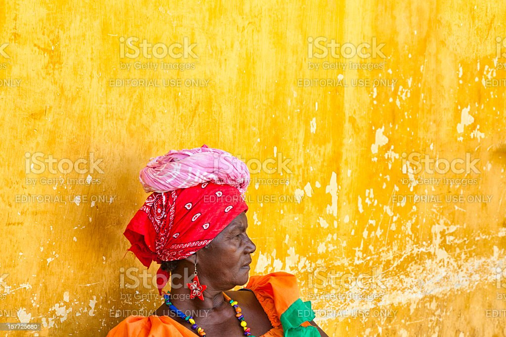 Woman in Traditional Garb, Cartagena, Columbia royalty-free stock photo